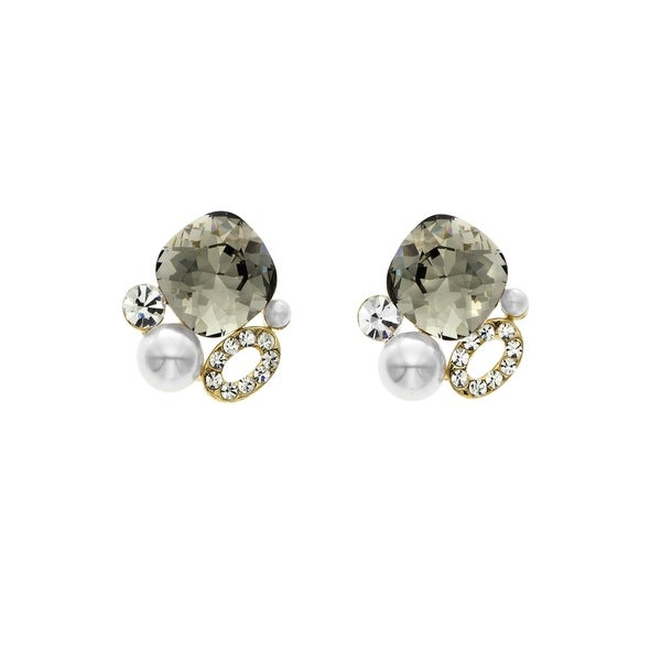 Isla Simone 14k Gold Plated Black Diamond Simulated Pearl Cer Stud Earrings Made With Swarovski