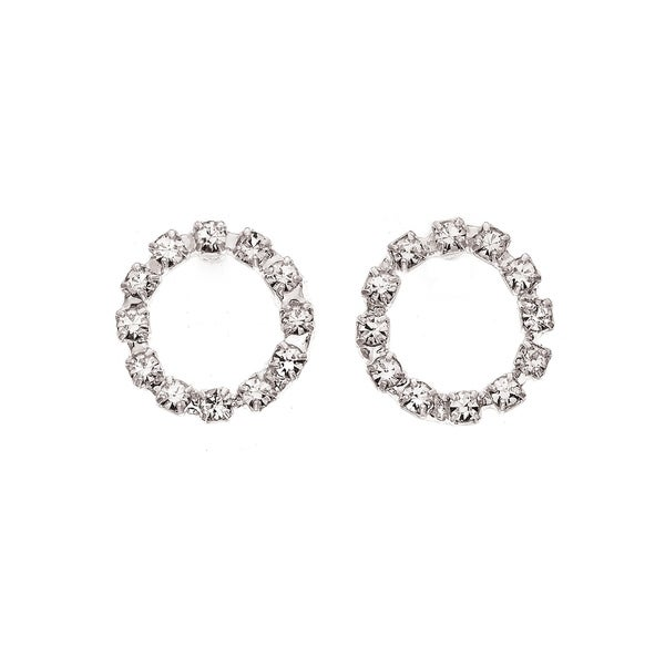 c2903160a3 Isla Simone Rhodium Plated Crystal Circle Stud Earring
