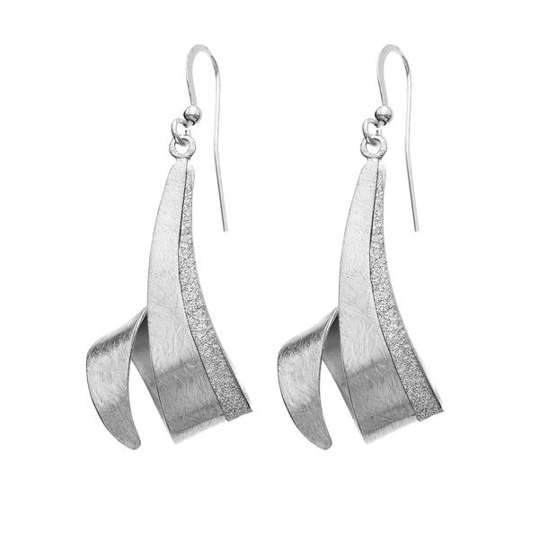 Isla Simone Brushed And Sparkle Finish Silver Tone Swirled Dangle Earrings