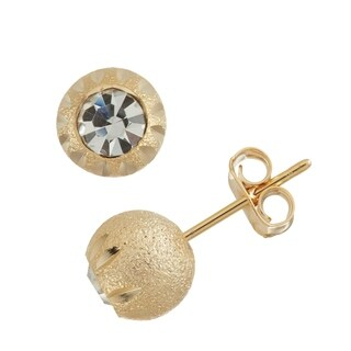 Isla Simone Dash Pattern Diamond Cut White Crystal Ball Stud Earrings