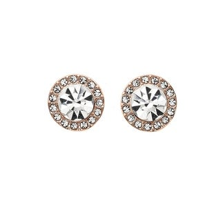 Isla Simone 14K Rose Gold Plated 7mm Halo Crystal Stud Earrings