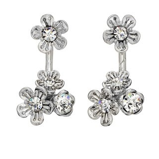 Isla Simone Rhodium Plated Front And Back Crystal Cluster Rose Earring