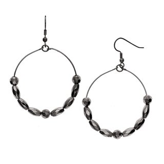Isla Simone Black Rhodium Plated Rosette and Faceted Oval Beaded Earring
