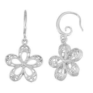 Isla Simone Brushed Silver Tone 3D Filigree Flower Dangle Earrings