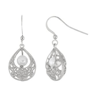 Isla Simone Brushed Silver Tone Filigree Basket Dangle Earrings with Simulated Pearls