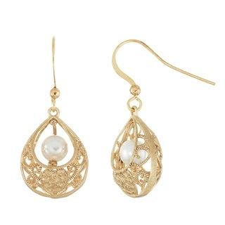 Isla Simone Brushed Gold Tone Filigree Basket Dangle Earrings With Simulated Pearls