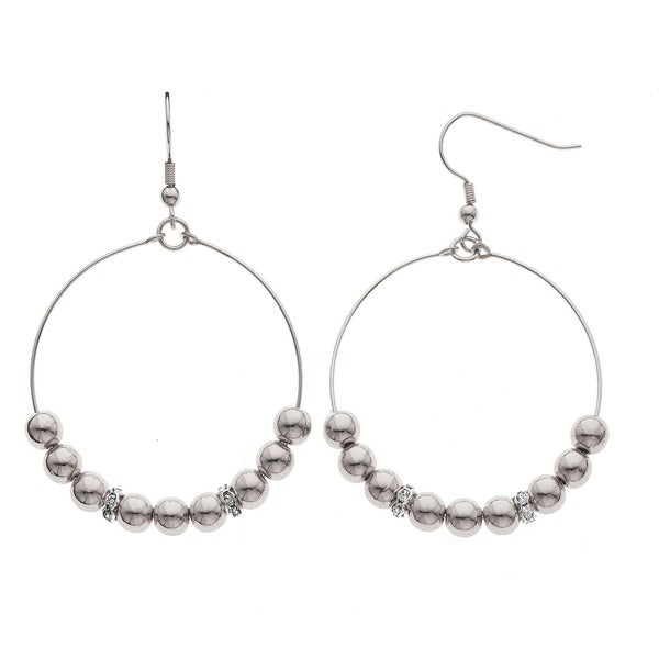 Isla Simone Fine Silver Plated 6mm Round Bead with Crystal Rondell Earring