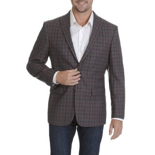 Prontomoda Europa Men's Burgundy Lamb's Wool Windowpane Sportcoat