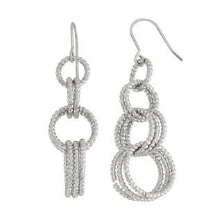 Isla Simone Rhodium Plated Linear Diamond Cut Multi Link Dangle Earrings