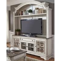 Magnolia Manor Antique White 2-Piece Entertainment Center