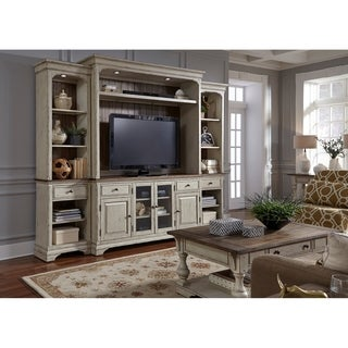 Morgan Creek Antique White and Tobacco 4-Piece Entertainment Center