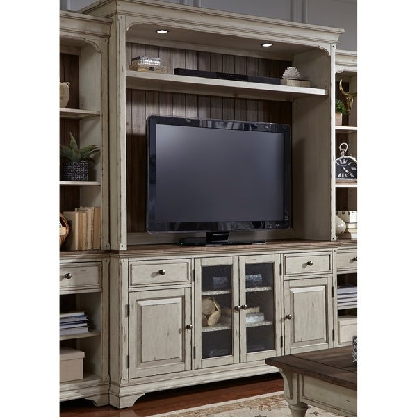 Morgan Creek Antique White and Tobacco 2-Piece Entertainment Center. Opens flyout.