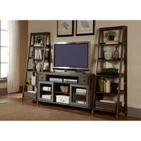Avignon Rustic Brown and Metal Leaning Bookcase Pier