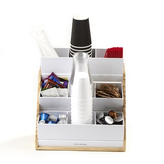 Mind Reader 9 Compartment Condiment Organizer with Acrylic Drawers and Wood Base, White
