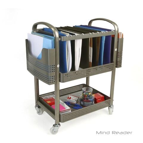 Mind Reader Heavy Duty Metal Mobile File Cart, Silver