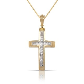 10k Yellow Gold 16-Inch 1/20 carat TDW Domed Small Diamond Cross Pendant Necklace (10mm x 20mm)
