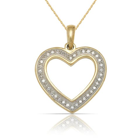 10k Yellow Gold 16-Inch 1/12 carat TDW Tailored Diamond Open Heart Pendant Necklace (18mm x 24mm)