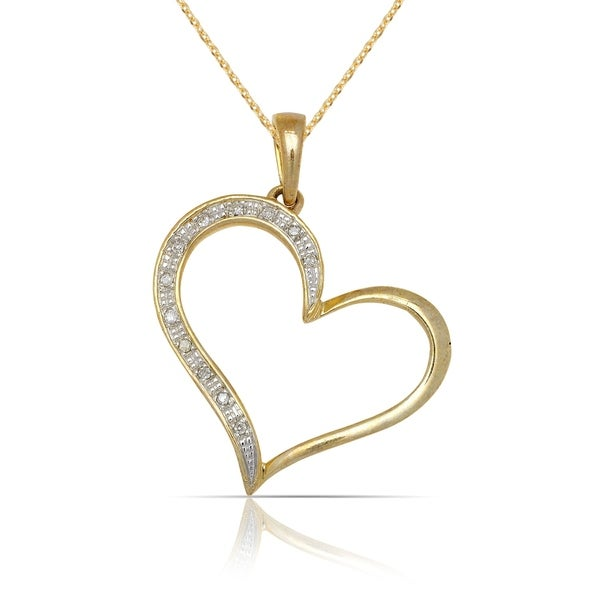 48895fee41 Shop 10k Yellow Gold 16-Inch 1/20 carat TDW Diamond Large Open Heart Tilted Pendant  Necklace (20mm x 28mm) - On Sale - Free Shipping Today - Overstock - ...