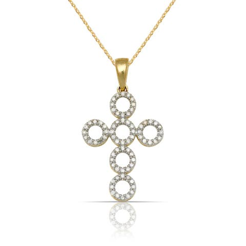 10k Yellow Gold 16-Inch 1/5 carat TDW Diamond Circle Bubble Cross Pendant Necklace (14mm x 25mm)