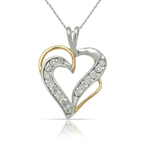 10k Two-tone Gold 16-Inch 1/20 carat TDW Diamond Double Heart Pendant Necklace (18mm x 24mm) - Yellow