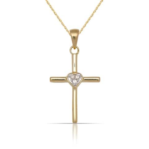 10k Yellow Gold 16-Inch 1/20 carat TDW Diamond Polished Heart on Cross Pendant Necklace (14mm x 26mm)