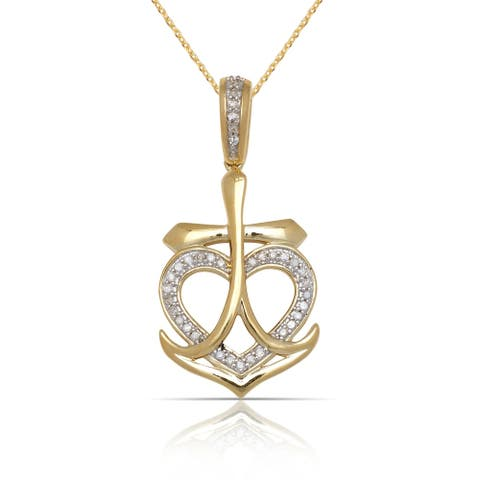 10k Yellow Gold 16-Inch 1/10 carat TDW Diamond Heart in Anchor Pendant Necklace (15mm x 30mm)