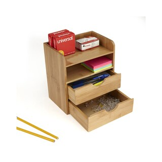 Mind Reader Bamboo Eco-Friendly 4 Tier Desk Organizer with 2 Drawers, Brown