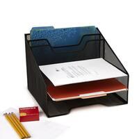 Mind Reader 5 Compartment Mesh Desk Storage Organizer, Black