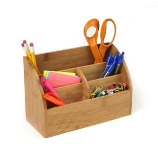 Mind Reader Bamboo 5 Compartment Desk Storage Organizer, Brown