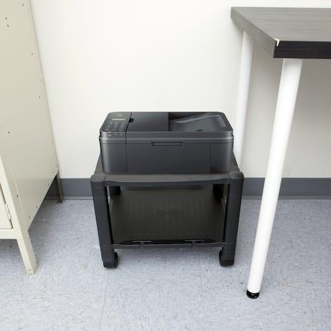 Mind Reader 2 Shelf Mobile Printer Cart with Cable Management, Black