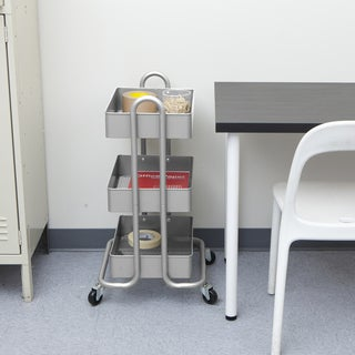 Mind Reader 'Whirl' Heavy Duty 3 Tier Metal Utility Cart, Silver