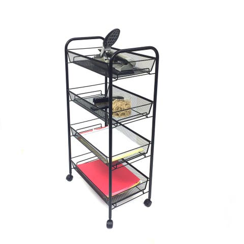 Mind Reader 'Roll' Rolling Metal Mesh 4 Shelf Cart, Black