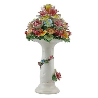 Authentic Italian Capodimonte flower basket on a column