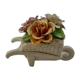 Authentic Italian Capodimonte assorted flowers in wheel barrel