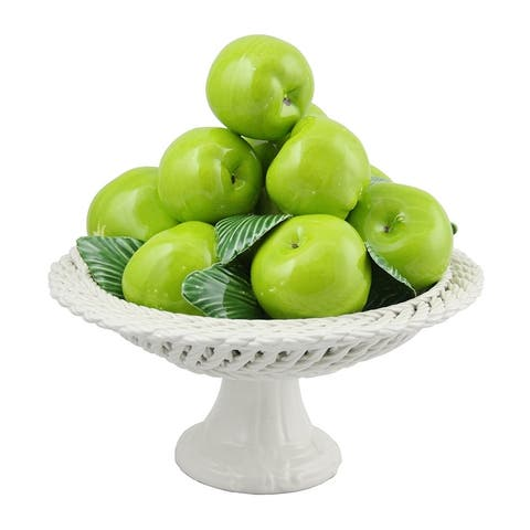 Authentic Italian Capodimonte pyramid bowl of apples