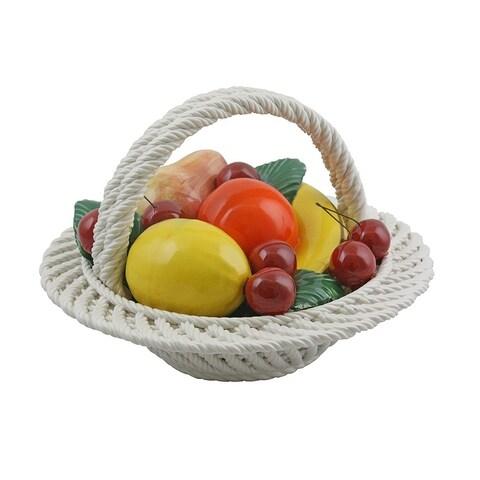 Authentic Italian Capodimonte assorted fruit basket with handle
