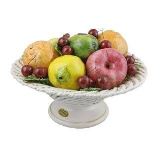 Authentic Italian Capodimonte assorted fruit basket on base