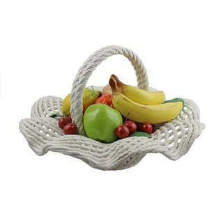 Authentic Italian Capodimonte assorted fruit basket with handle