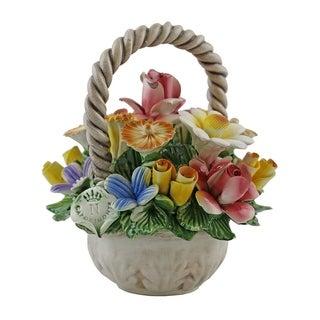 Authentic Italian Capodimonte flower basket with handle