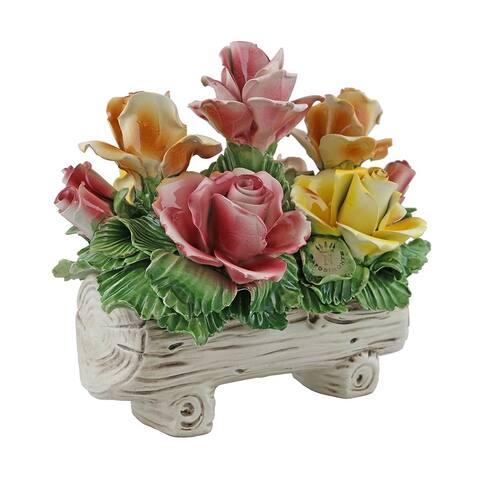 Authentic Italian Capodimonte flower basket, roses on a tree log
