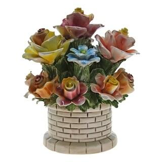 Authentic Italian Capodimonte round flower basket