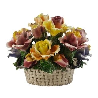 Authentic Italian Capodimonte oval flower basket