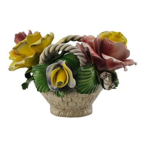 Authentic Italian Capodimonte oval flower basket w/ handles
