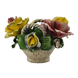 Authentic Italian Capodimonte oval flower basket w/ handles