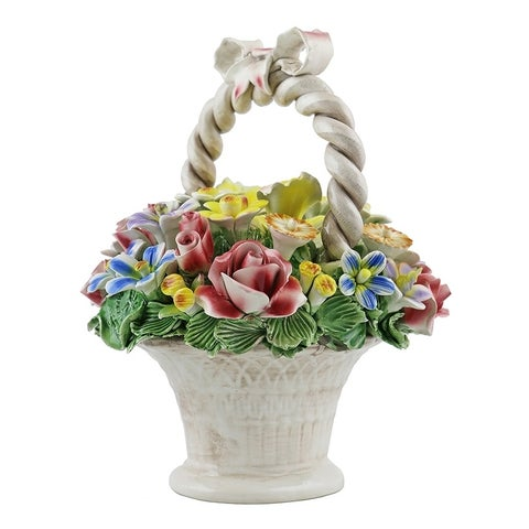 Authentic Italian Capodimonte flower basket with handle and bow