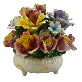 Authentic Italian Capodimonte round flower basket with candle holder