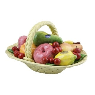 Authentic Italian Capodimonte oval assorted fruit basket