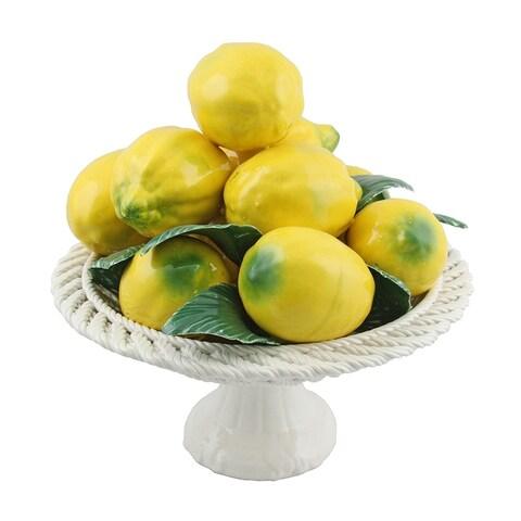 Authentic Italian Capodimonte pyramid bowl of lemons on base