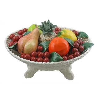 Authentic Italian Capodimonte oval assorted fruit centerpiece