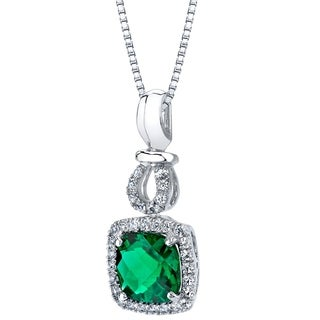 14k White Gold Created Emerald 1.75 carat Halo Drop Pendant - Green